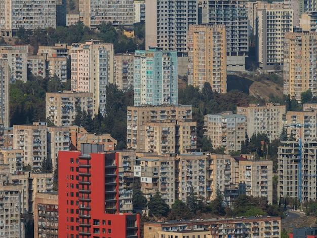Vecchi edifici sovietici vecchie case residenziali urbane sovietica distretto della città architettura dell'urss