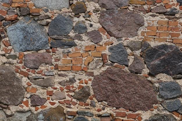 Vecchio sfondo di muro di pietra e mattoni