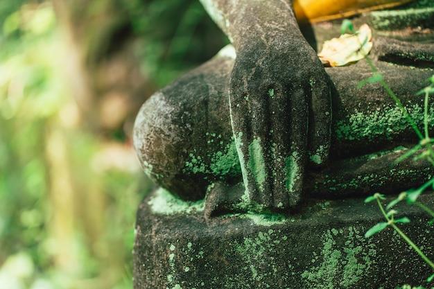 Vecchia mano di pietra di buddha l'arte asiatica nella foresta in wat u-mong chiangmai thailand.