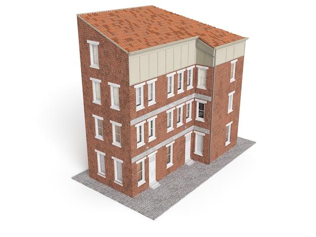Edificio della città vecchia isolato su sfondo bianco. illustrazione 3d