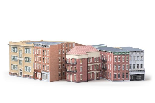 Gli edifici della città vecchia sono isolati su sfondo bianco. illustrazione 3d