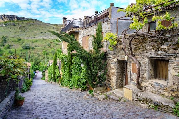 Strada del centro storico con vista sulle montagne, facciate in pietra e piante verdi. patones de arriba madrid