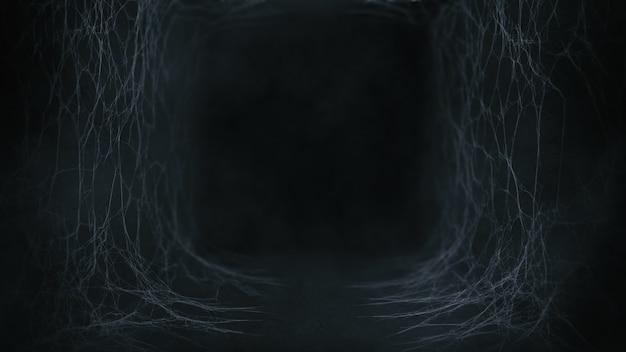 Vecchio tunnel con ragnatela e atmosfera di nebbia in tema scuro per sfondo spaventoso di halloween, rendering 3d.