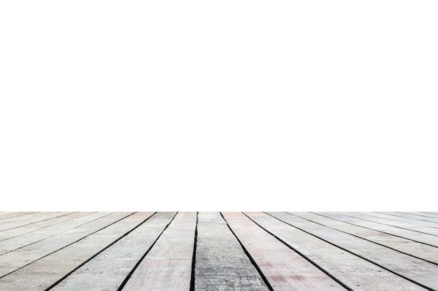 Vecchio pavimento in legno isolato su sfondo bianco