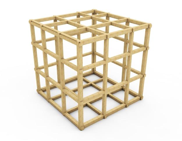 Vecchia gabbia per uccelli in legno - illustrazione 3d isolata su bianco