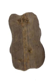 Vecchio tagliere scrostato originale di legno isolato su fondo bianco