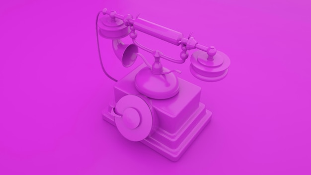 Telefono antiquato su sfondo viola