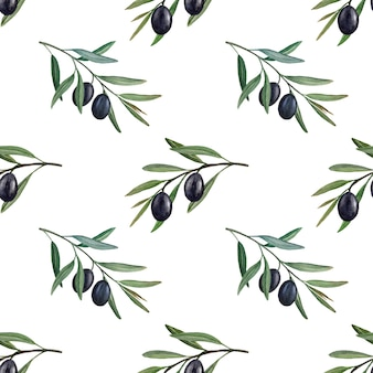 Rami di ulivo con olive nere acquerello seamless pattern.