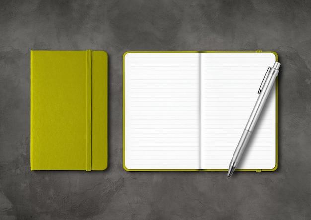Quaderni a righe verde oliva chiusi e aperti con una penna