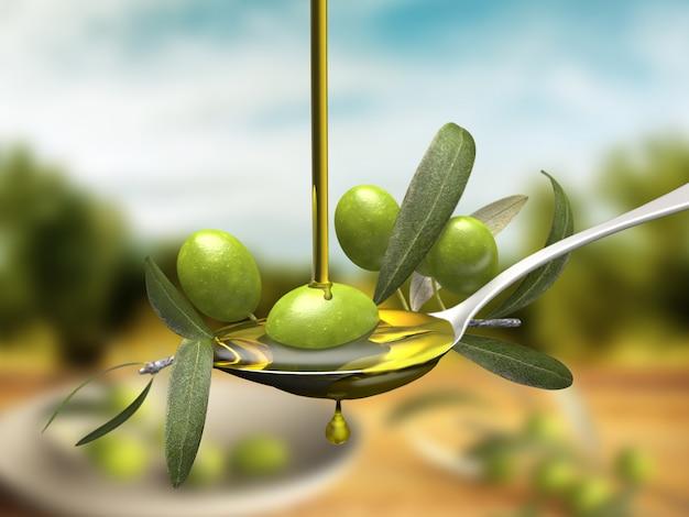Getto dell'olio d'oliva sopra un ramo di ulivo in un cucchiaio