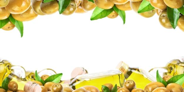 Olio d'oliva su sfondo bianco