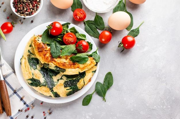 Frittata con foglie di spinaci