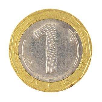 Una moneta leva bulgara isolata su un primo piano sfondo bianco
