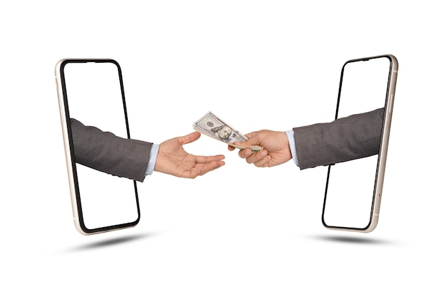 Un uomo d'affari che tiene la banconota del dollaro da dare e un uomo d'affari lo riceve tramite smartphone