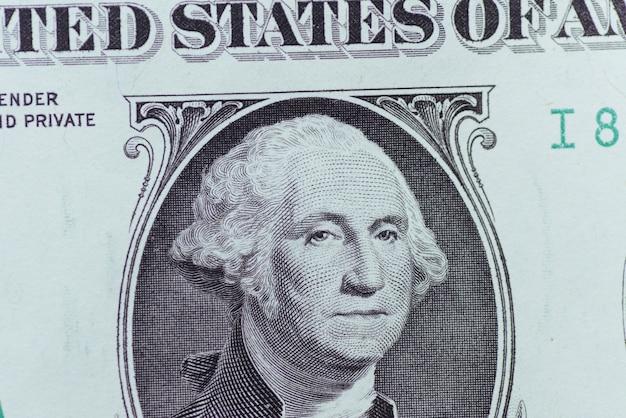 Banconote da un dollaro dollari americani. macro di fatture del dollaro degli stati uniti due.
