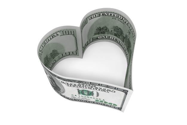 Banconota da cento dollari come cuore su sfondo bianco