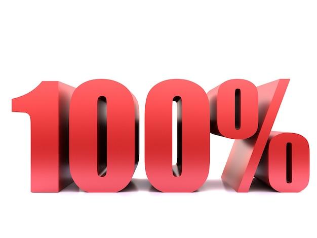 Simbolo al cento percento. rendering 3d