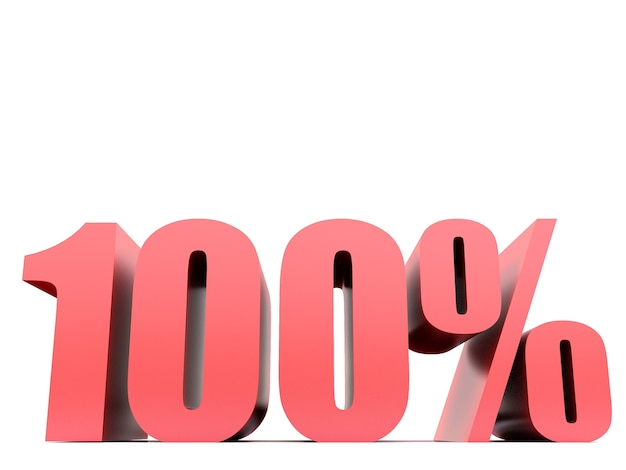 Simbolo al cento per cento 100% .3d rendering