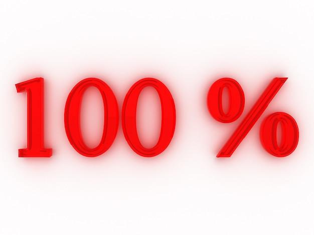 Cento per cento. i numeri rendering 3d