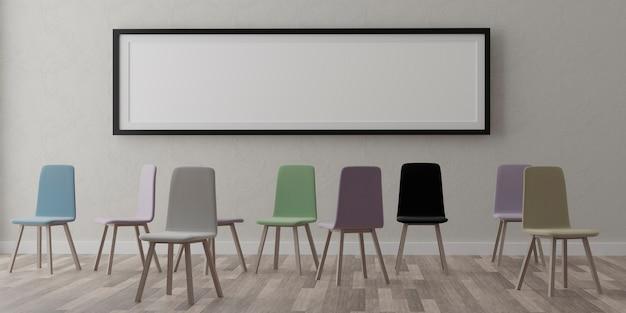 Un mockup di cornice bianca orizzontale con cornice nera e un gruppo di sedie sedie in una stanza vuota
