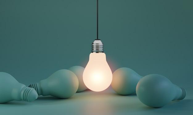 Una delle lampadine che si illuminano tra la lampadina di spegnimento in un'area buia con spazio per la copia per il pensiero creativo, la soluzione dei problemi e il concetto eccezionale con la tecnica di rendering 3d.