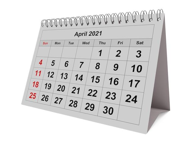 Una pagina del mese di calendario mensile annuale aprile 2021 rendering 3d