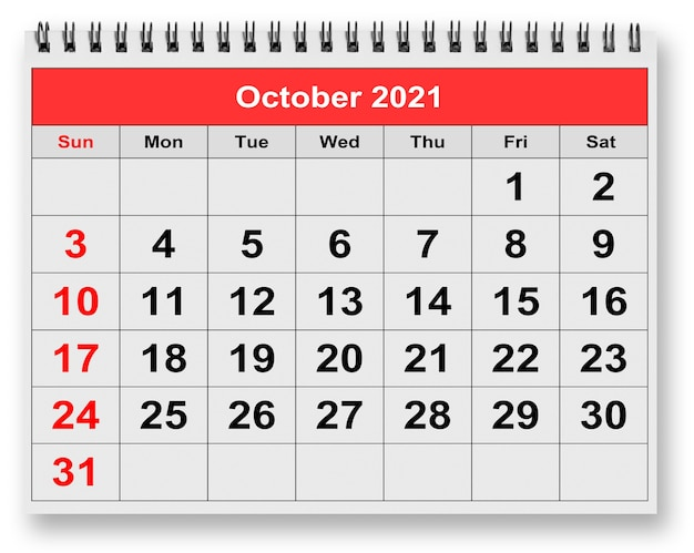 Una pagina del calendario mensile annuale - ottobre 2021