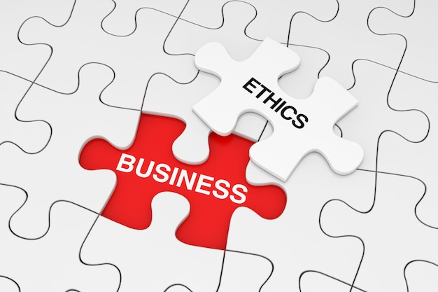 One piece of white jigsaw puzzle su plain of white puzzle con segno di etica aziendale su uno sfondo rosso. rendering 3d