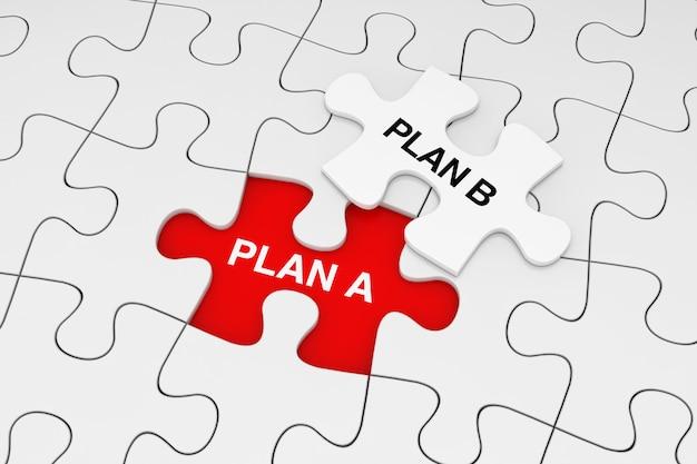 One piece of white jigsaw puzzle su plain of white puzzle con le parole del piano a e del piano b su uno sfondo rosso. rendering 3d