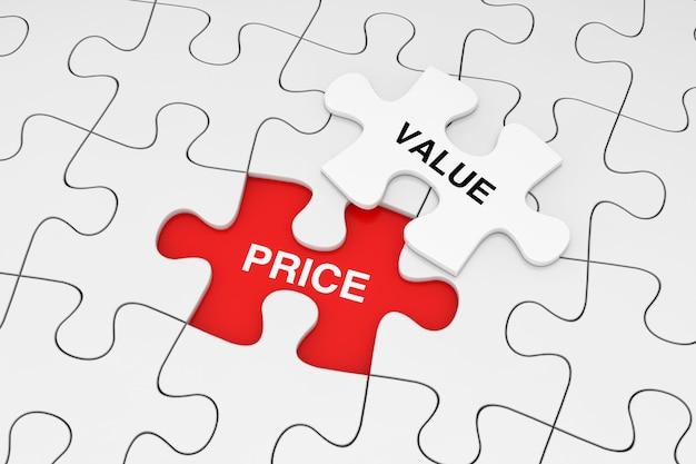 One piece of white jigsaw puzzle su plain of white puzzle con parole di prezzo e valore su uno sfondo rosso. rendering 3d