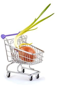 Cipolle con piume verdi in un carrello del supermercato su un bianco