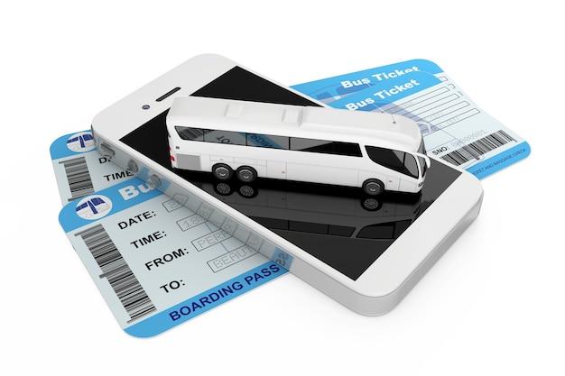 Concetto di prenotazione online. big white coach tour bus su telefono cellulare e biglietti per autobus su sfondo bianco. rendering 3d