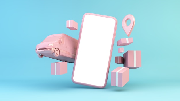 Rappresentazione online di concetto 3d di consegna