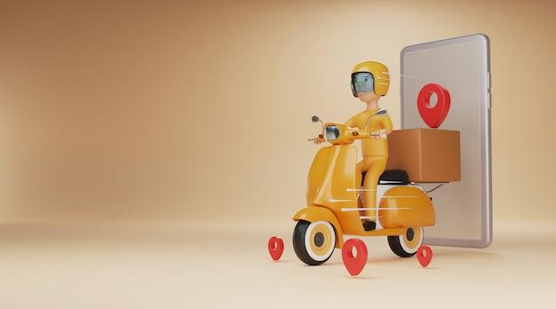 Servizio di consegna online con scooter. rendering 3d.