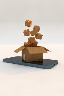 Concetto di servizio di consegna online. smartphone con scatole di cartone