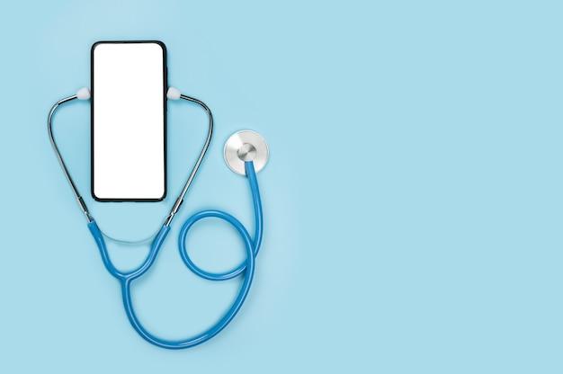 Dottore in linea. mockup del telefono sanitario dell'app. ottenere una consulenza in linea dal medico tramite telefono cellulare.