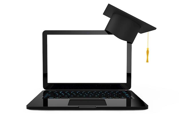 Concetto di formazione online. cappello di graduazione sopra il computer portatile su una priorità bassa bianca. rendering 3d.