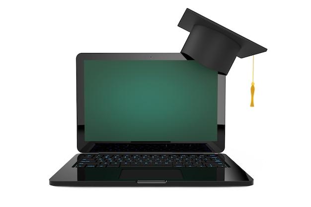 Concetto di formazione online. cappello di graduazione sopra il computer portatile con lo schermo della lavagna su un fondo bianco. rendering 3d.