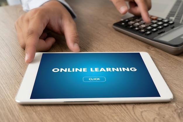 Apprendimento online tecnologia di connettività competenze di coaching insegnare a internet online digitale