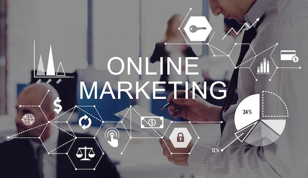 Concetto di strategia di branding di pubblicità di marketing online