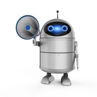Concetto di marketing online con robot di rendering 3d con megafono