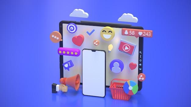 Concetto di marketing online con piattaforma di comunicazione sui social media 3d rendering