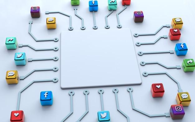 Media online pubblica modello vuoto e mockup vuoto sfondo premium con icona social di rendering 3d