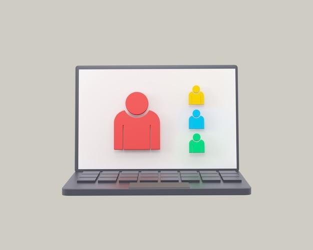 Taccuino con zoom per videoconferenze con icone 3d online su sfondo grigio