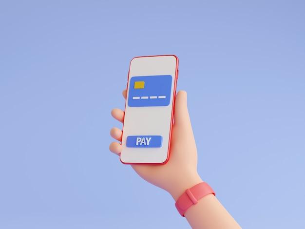 Il pagamento online e il portafoglio elettronico 3d rendono l'illustrazione. mano umana con orologi da polso che tengono il telefono cellulare con carta di credito e pulsante di pagamento sul touch screen. shopping online, concetto di trasferimento di denaro.
