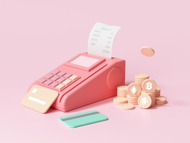 Pagamento online tramite carta di credito e concetto di criptovaluta. pos i metodi di pagamento del terminale 3d rendono l'illustrazione
