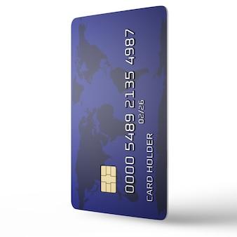 Concetto di pagamenti online. carta di credito in posizione verticale su uno sfondo bianco. numero di carta fittizia. visualizzazione 3d