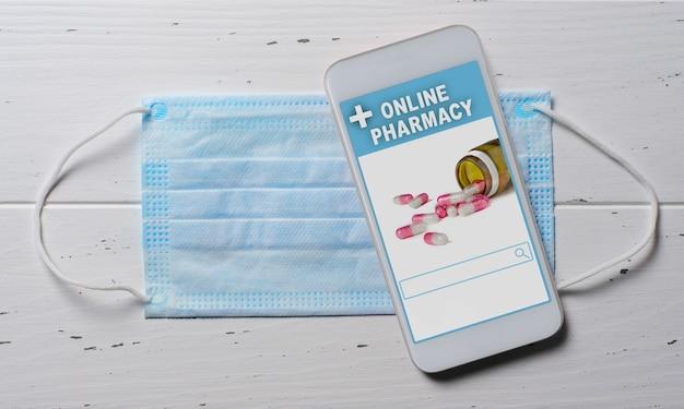 Farmacia online. applicazione in smartphone per l'ordinazione online di medicinali.