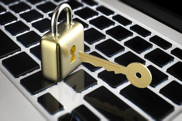 Concetto di sicurezza online con lucchetto dorato con chiave dorata