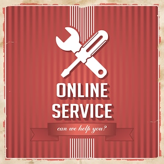 Servizio online con icona di cacciavite incrociato e chiave inglese e slogan su strisce rosse. concetto vintage in design piatto.